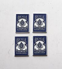 4 Vintage Bicycle Playing Card Rider Back Refrigerator magnets Blue Set Lot mini