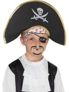 Pirate Caribbean Captain Hat Children Boys Smiffys Fancy Dress Costume Accessory