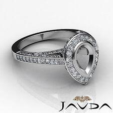 Halo Pave Set Diamond Engagement Pear Semi Mount Ring 18k White Gold White 1.25C