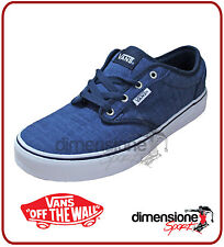 VANS SCARPE BASSE TG 42 ATWOOD BLU V15GIDL UK 8 DISTRESSED LACCI DRESS BLUE