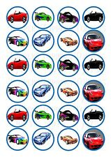 24 Sports Cars Cupcake Topper Wafer Rice Edible Fairy Cake Bun Toppers