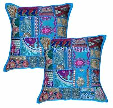 """Indian Modern Square Cushion Cover Handmade Patchwork Cotton 2pc Pillow Case 18"""""""