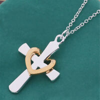 Frauen Damen Kreuz Herz Anhänger Kette Halskette Edlen Schmuck^