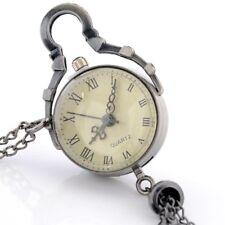 Quartz Pocket Watch Pendant Necklace Chain Antique Bronze Eyes Glass Ball Roman