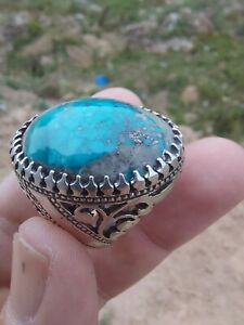 925. Sterling Silver Turkish Handmade Turquoise Stone Men's Luxury Ring All Size