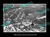 OLD LARGE HISTORIC PHOTO OF MILTON FLORIDA AERIAL VIEW OF THE TOWN c1940 1