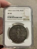 1903 S Philippines Peso Ngc Certified .900 Silver Coin Great Detail