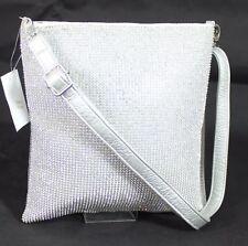 Silver Diamante Diamond Evening Wedding Clutch Purse Prom Party Across Body bag