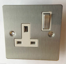 SINGLE WALL PLUG SOCKET NICKEL BRUSHED STEEL SILVER 240v 3 PIN UK ELECTRIC POWER