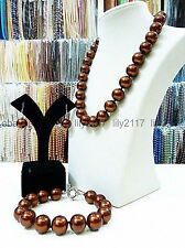 Pretty 12mm coffee brown South Sea shell pearl necklace bracelet earrings Set