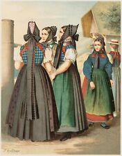 KRETSCHMER, Damen in Schwarzwaldtracht, 19. Jh., Farblithographie