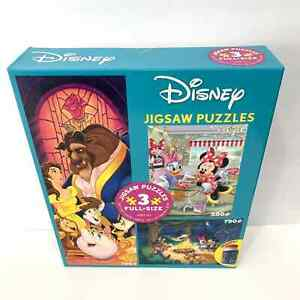 Disney Mickey Minnie Beauty and The Best Jigsaw Puzzle 3 in 1 Pack Glue 2020 New