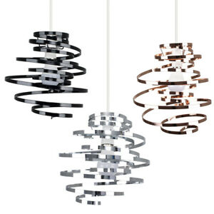 Metal Pendant Swirl Shade MiniSun Non Electric Easy Fit Lounge Ceiling Lampshade