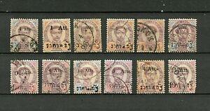 Thailand (Siam) (TH316) (12) O/P on King Chulalonghorn, Used, FVF, CV$????