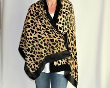 Luxurious Black Velvet-Like and Gold Leopard Print Burnout Scarf/Shawl