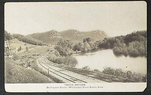 94-TRAINS & RAILROAD -USA., Three Sisters, Burlington Route-Mississipi River Sce
