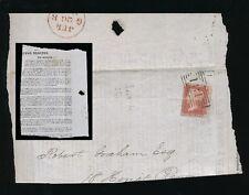 SCOTLAND 1857 EDINBURGH ROLLER CANCEL on PIECE...SERVANTS REGISTER