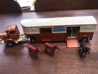 Vintage 1970s Corgi Major diecast Berliet Horse Box Trailer with 4 horses