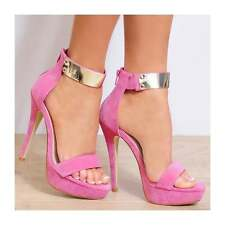 Ladies Pink Gold Ankle Strap Open Toe Strappy Stiletto High HEELS Shoes UK 6