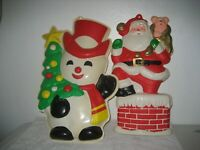 Vintage Santa Claus Chimney Snowman Plastic Wall Hanging Decoration 18''