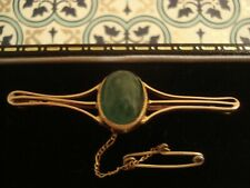 Beautiful,Finely Crafted Antique Art Nouveau:3.25 CT Emerald Set 9CT Gold Brooch