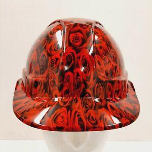 safety hard hat / helmet - Red rose design- fully BS EN397 compliant