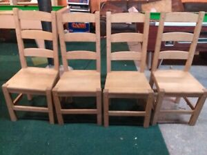4 x Solid Pine Ladder Back Chairs