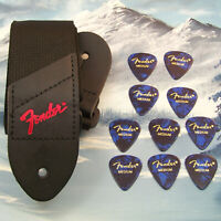 GUITAR STRAP ~ GENUINE FENDER ~ BLACK w/ RED LOGO  + 10 MEDIUM BLUE 351 PICKS