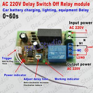 AC 220V 230V 240V Trigger Delay Timing Timer Relay Switch Delay Turn Off 0~60s L