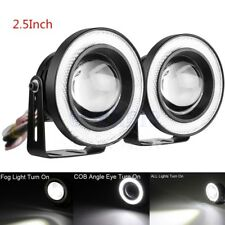 "2.5"" Coche Luz Niebla Bombillas Blanco COB Angel Eyes LED Halo DRL Luces Faro SG"