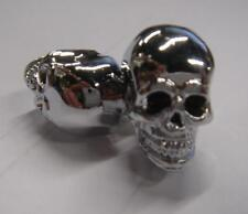 NEW CHROME SKULL BOLTS LICENSE PLATE DECORATIVE METAL HARLEY MOTORCYCLE AUTO PR!