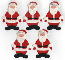 5 Santa Card Toppers made from Hand Made Paper