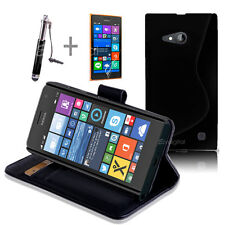 BLACK Wallet 4in1 Accessory Bundle Kit Case Cover For Nokia Lumia 730 735