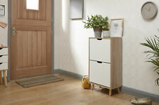 Designer Shoe Storage Cabinet 2 Tier White Oak Veneer Cabinet Solid Wood Legs