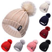 Women Pom Pom Bobble Beanie Winter Knitted Ski Hat Warm Faux Fur Crochet Caps