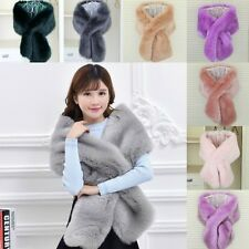 Winter Warm Scarf Faux Fox Fur Collars Fluffy Large Soft Shawl Wrap Stole Cape L