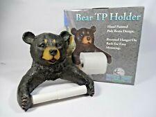 Rivers Edge Bear Toilet Paper Holder Poly Resign Cabin Lodge Bathroom Gift NIB