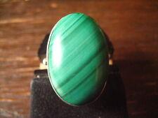prächtiger moderner Designer Ring Malachit strahlend grün 925er Silber RG 58