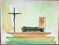 ✅Acquerello 900 su carta Watercolor Architettura futurista cubista razionale-105