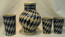 Reinhold Merkelbach German Salt Glaze 1 Liter Pitcher 3 Cups Cobalt Blue Diamond