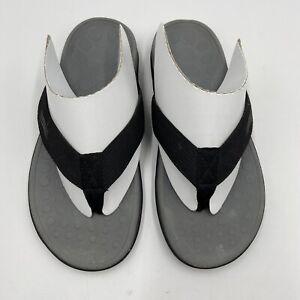 Vionic Orthaheel Sandals Unisex W6 M5 Wave Black Thong Flip Flops