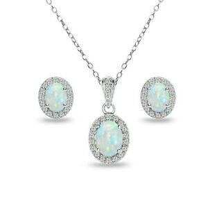 925 Silver Simulated White Opal & White Topaz Oval Halo Necklace & Earrings Set