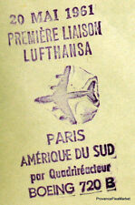 1961 LUFTHANSA BOEING 720B PARIS ARGENTINE  Airmail Aviation premier vol AC42