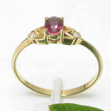 14k Solid Yellow Gold Genuine Diamonds, Oval Natural Red Ruby Solitaire Ring TPJ