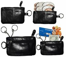 Lot of 4 Leather change purse,Black Zip coin wallet 2 pocket coin case key ring
