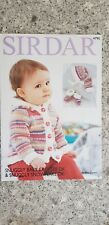 Sirdar Knitting Pattern #4795 Childs Jacket Mittens Bootees Hat Birth to 7 Years
