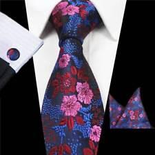 Men's Wedding Party Silk Tie Pink Blue Flowers Ties Handkerchief Cufflinks Set