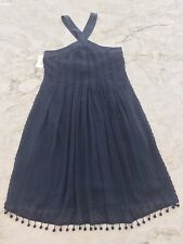 NWT $350 REBECCA TAYLOR BLUE EMBROIDERED PLEATED SILK BLEND DRESS SIZE 2