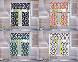 Trellis Geometric Panel Blackout Lined Window Kitchen 3PC Curtain Set MOZA/SOLID