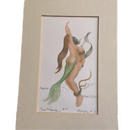 "Pirate Mermaid 5"" x 7"" Matted Print Art Nautical Home Decor Signed Robert Kline"